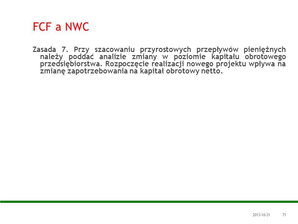 FCF a NWC