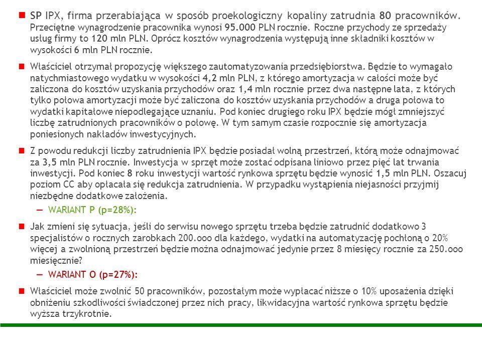 SP IPX, firma przerabiająca w sposób proekologiczny kopaliny zatrudnia 80 pracowników. Przeciętne wynagrodzenie pracownika wynosi 95.000 PLN rocznie. Roczne przychody ze sprzedaży usług firmy to 120 mln PLN. Oprócz kosztów wynagrodzenia występują inne składniki kosztów w wysokości 6 mln PLN rocznie.
