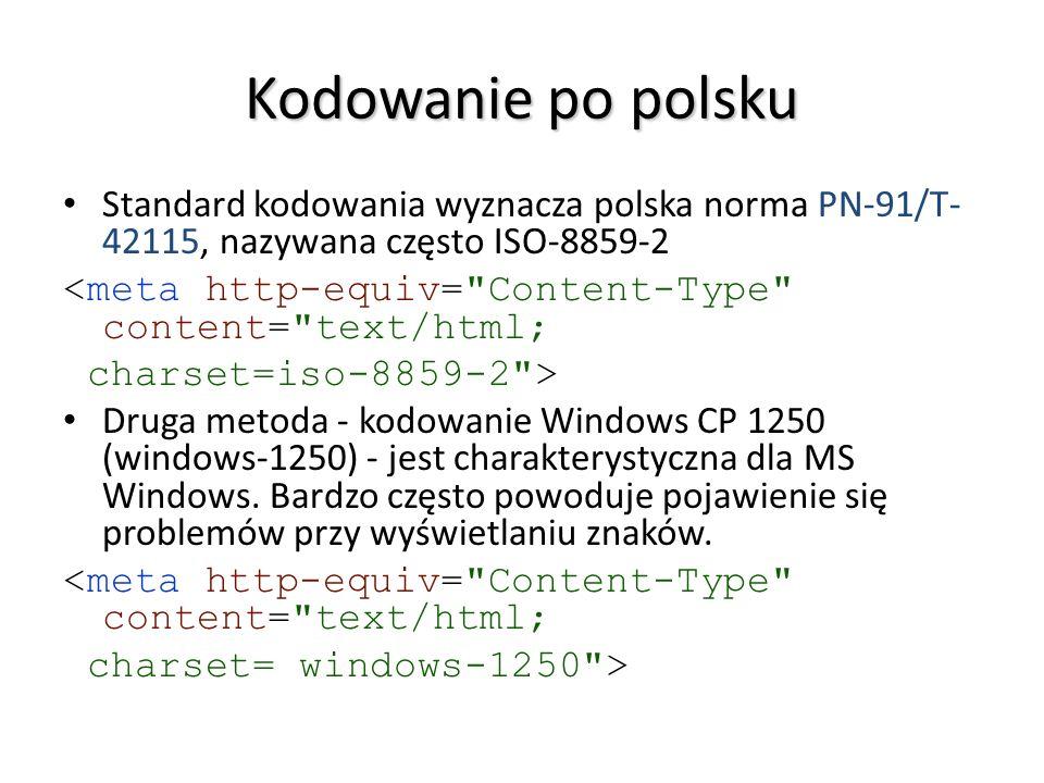 Kodowanie po polsku Standard kodowania wyznacza polska norma PN-91/T-42115, nazywana często ISO-8859-2.