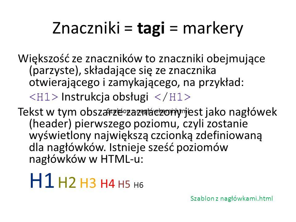 Znaczniki = tagi = markery