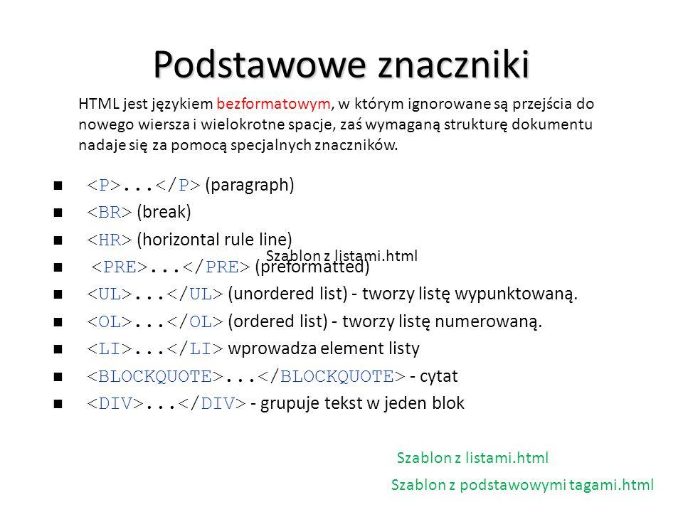 Podstawowe znaczniki <P>...</P> (paragraph)