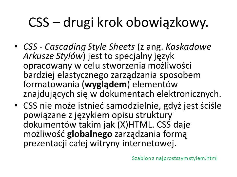 CSS – drugi krok obowiązkowy.