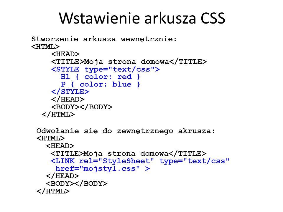 Wstawienie arkusza CSS