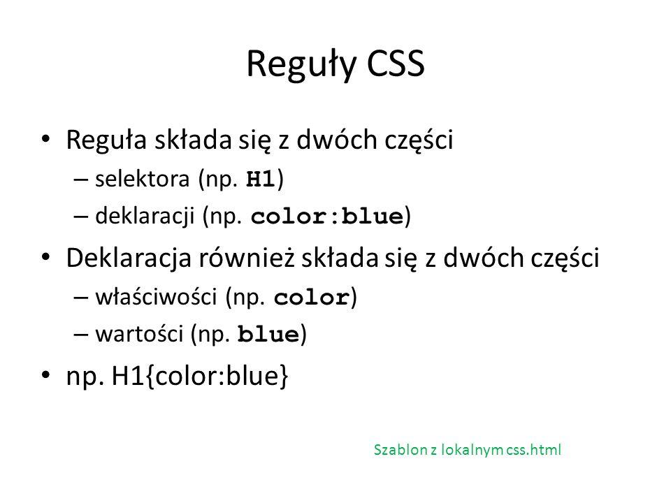 Reguły CSS Reguła składa się z dwóch części