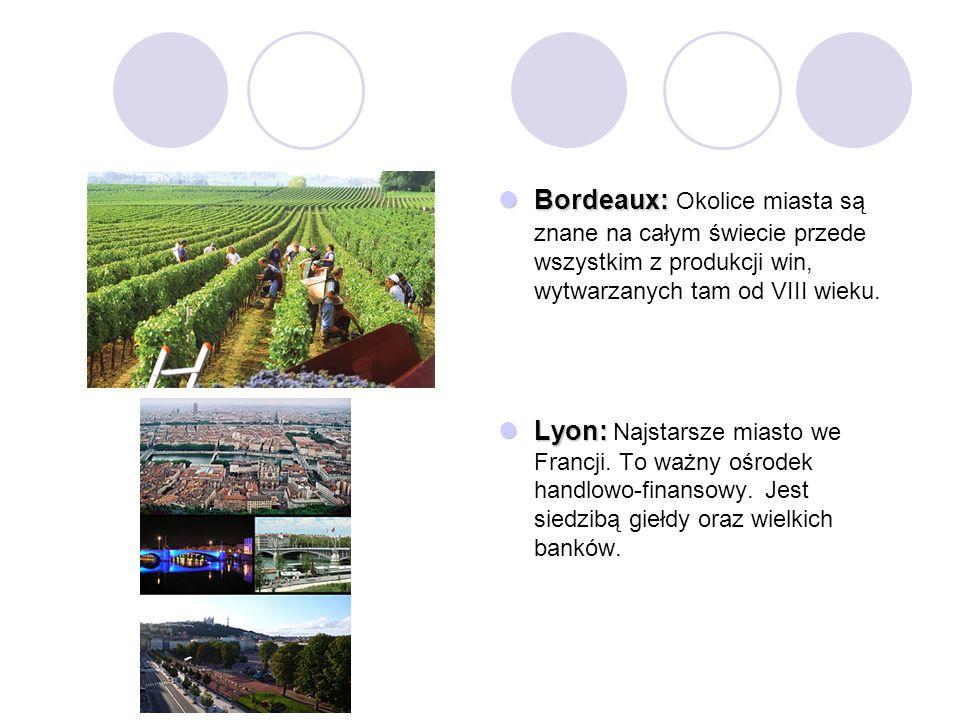 Bordeaux: Okolice miasta są znane na całym świecie przede wszystkim z produkcji win, wytwarzanych tam od VIII wieku.