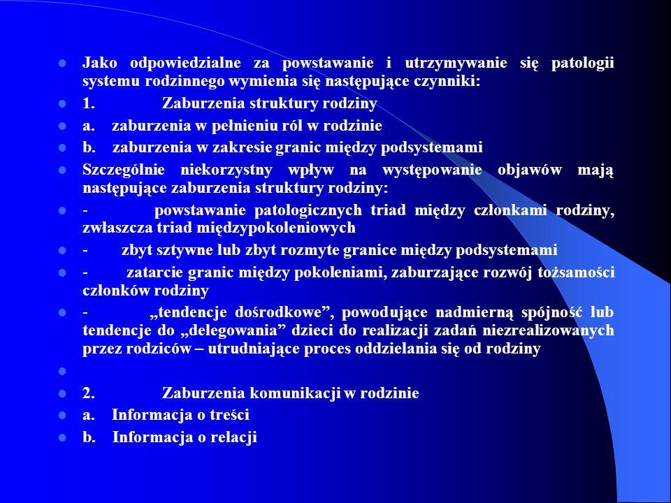 Jako odpowiedzialne za powstawanie i utrzymywanie się patologii systemu rodzinnego wymienia się następujące czynniki: