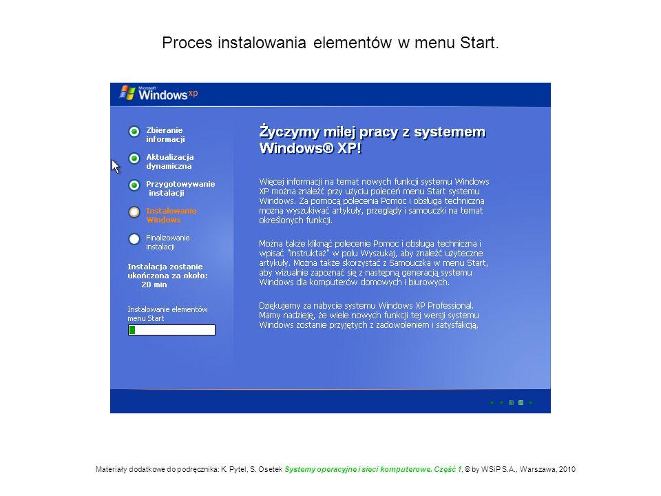 Proces instalowania elementów w menu Start.