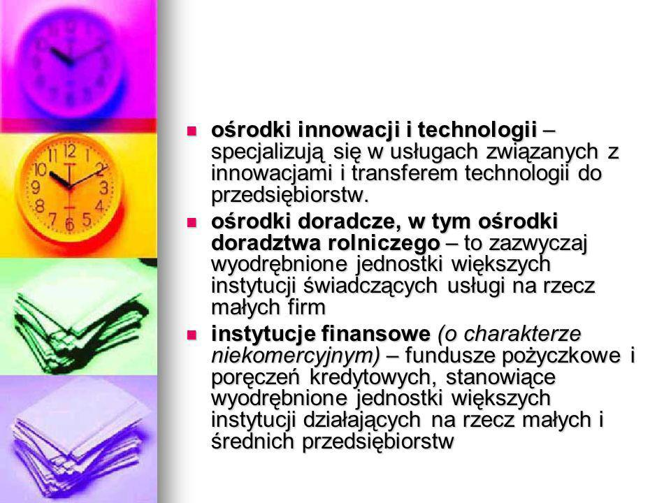 ośrodki innowacji i technologii – specjalizują się w usługach związanych z innowacjami i transferem technologii do przedsiębiorstw.