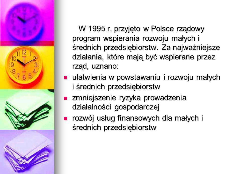 W 1995 r. przyjęto w Polsce rządowy program wspierania rozwoju małych i średnich przedsiębiorstw. Za najważniejsze działania, które mają być wspierane przez rząd, uznano: