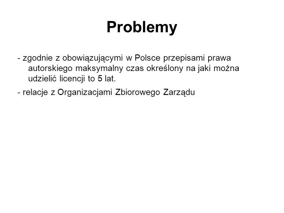 Problemy- zgodnie z obowiązującymi w Polsce przepisami prawa autorskiego maksymalny czas określony na jaki można udzielić licencji to 5 lat.