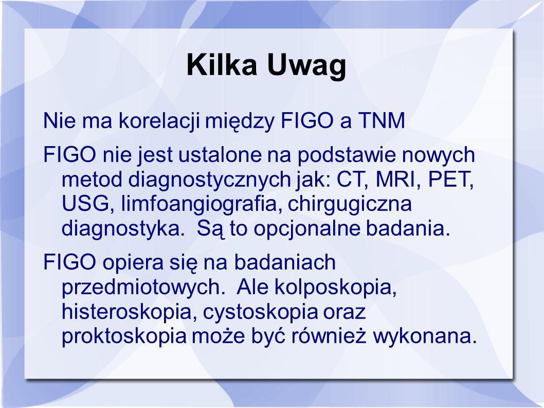 Kilka Uwag Nie ma korelacji między FIGO a TNM