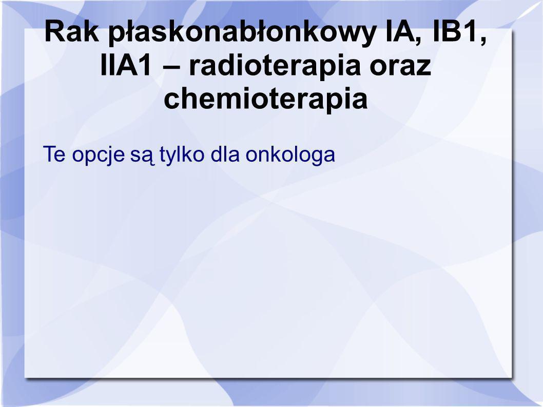 Rak płaskonabłonkowy IA, IB1, IIA1 – radioterapia oraz chemioterapia
