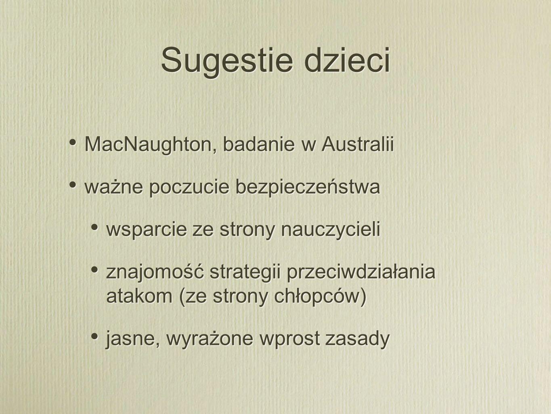 Sugestie dzieci MacNaughton, badanie w Australii