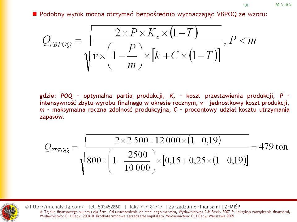 Podobny wynik można otrzymać bezpośrednio wyznaczając VBPOQ ze wzoru: