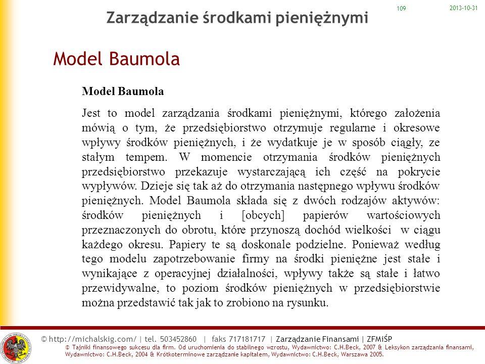 Model Baumola Zarządzanie środkami pieniężnymi Model Baumola