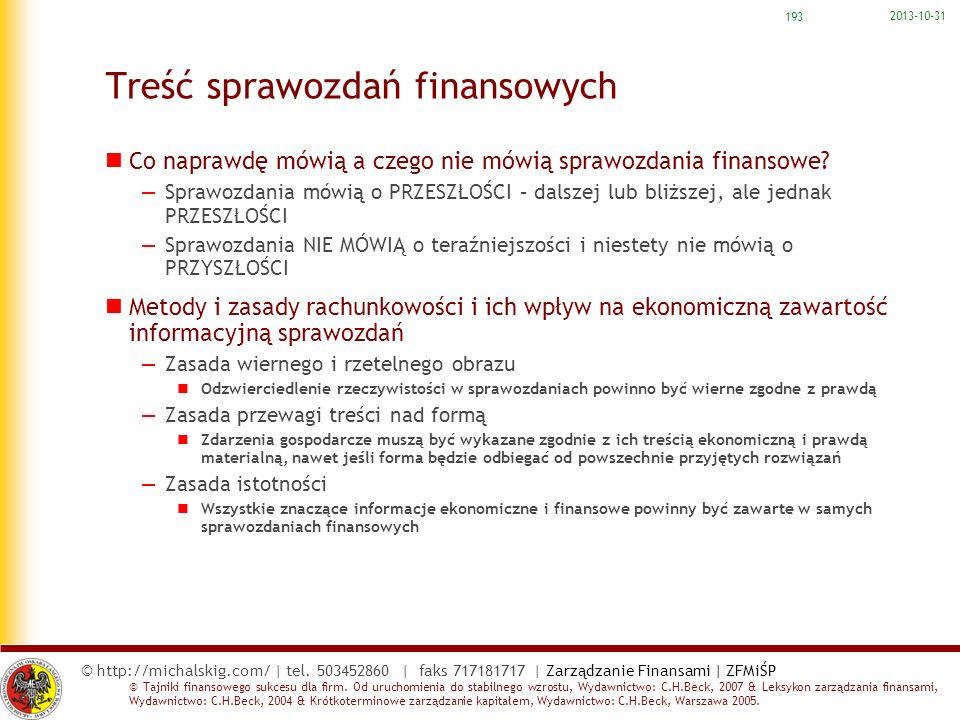 Treść sprawozdań finansowych