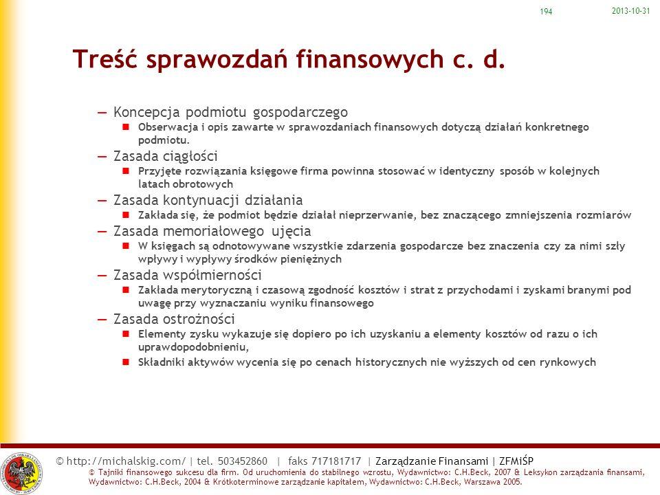 Treść sprawozdań finansowych c. d.