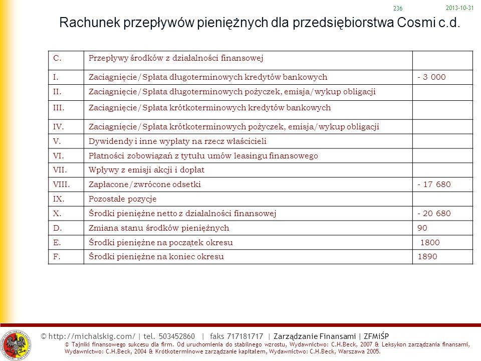 Rachunek przepływów pieniężnych dla przedsiębiorstwa Cosmi c.d.