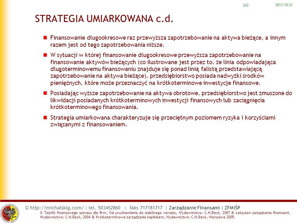 STRATEGIA UMIARKOWANA c.d.