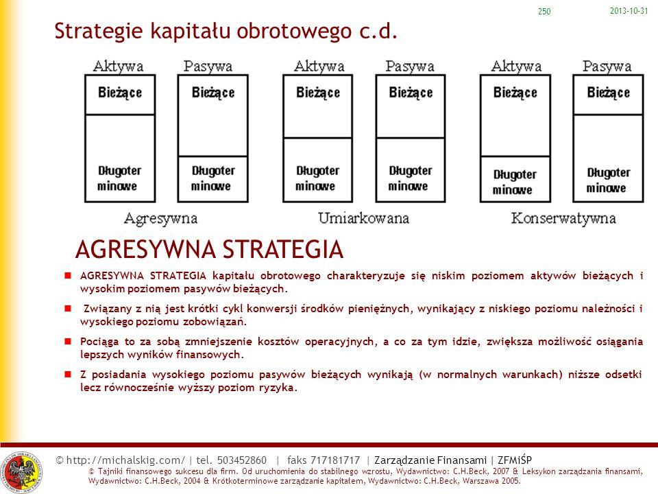 Strategie kapitału obrotowego c.d.