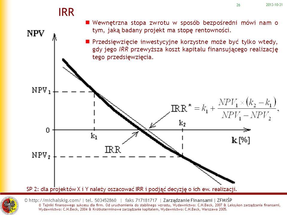 2017-03-22 IRR. Wewnętrzna stopa zwrotu w sposób bezpośredni mówi nam o tym, jaką badany projekt ma stopę rentowności.