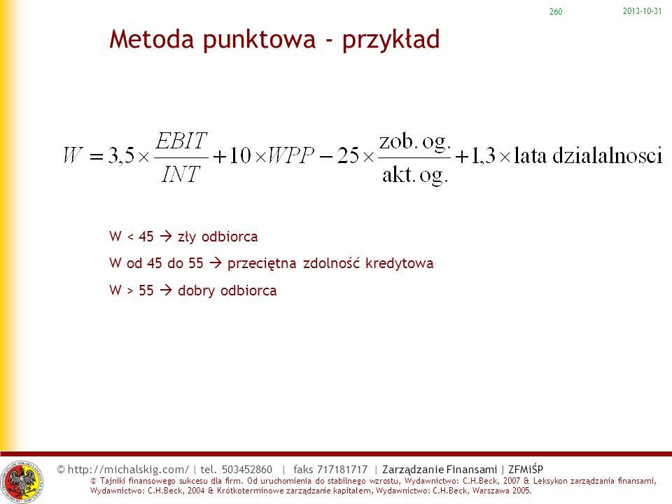 Metoda punktowa - przykład