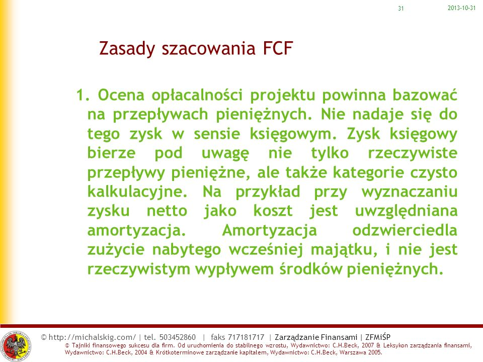 2017-03-22 Zasady szacowania FCF.