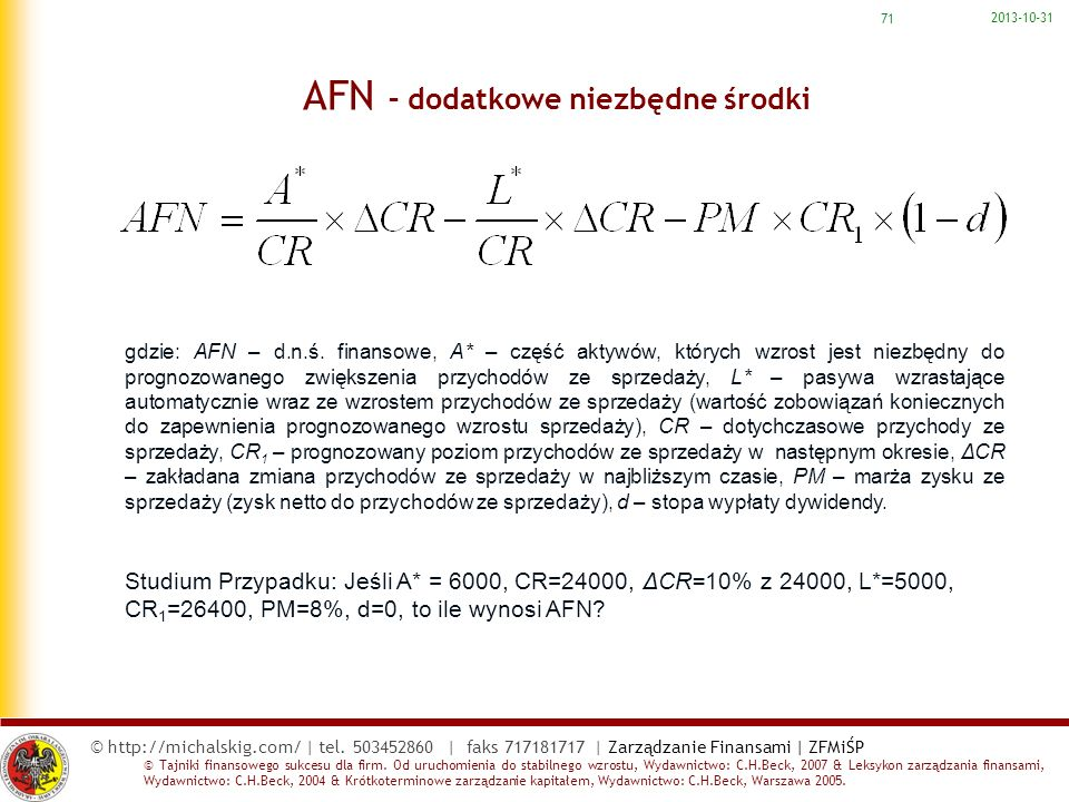 AFN – dodatkowe niezbędne środki