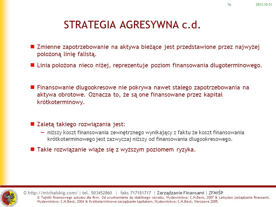 STRATEGIA AGRESYWNA c.d.