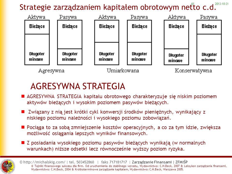 Strategie zarządzaniem kapitałem obrotowym netto c.d.