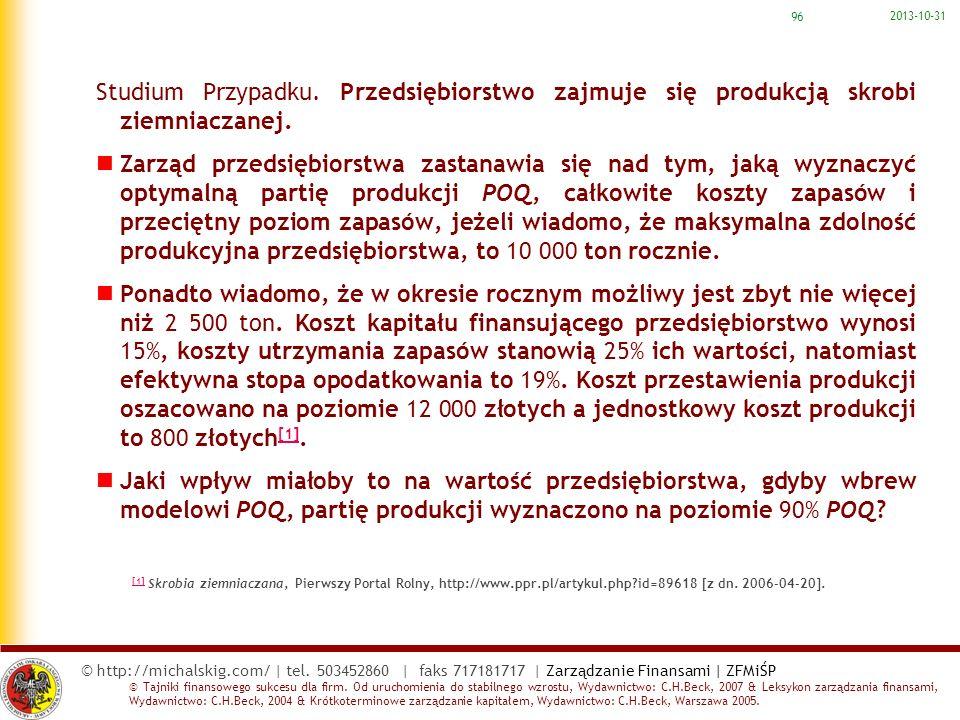 2017-03-22 Studium Przypadku. Przedsiębiorstwo zajmuje się produkcją skrobi ziemniaczanej.