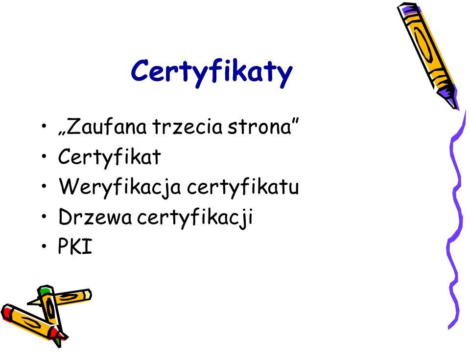 """Certyfikaty """"Zaufana trzecia strona Certyfikat"""
