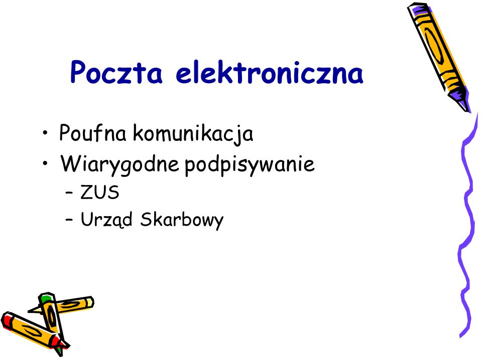 Poczta elektroniczna Poufna komunikacja Wiarygodne podpisywanie ZUS