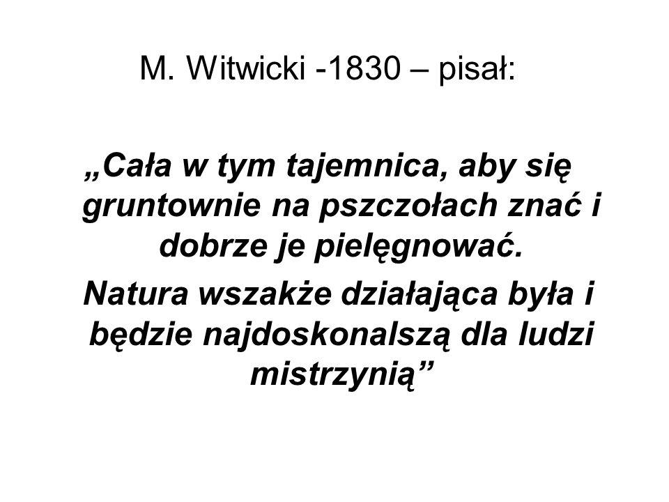 """M. Witwicki -1830 – pisał:""""Cała w tym tajemnica, aby się gruntownie na pszczołach znać i dobrze je pielęgnować."""