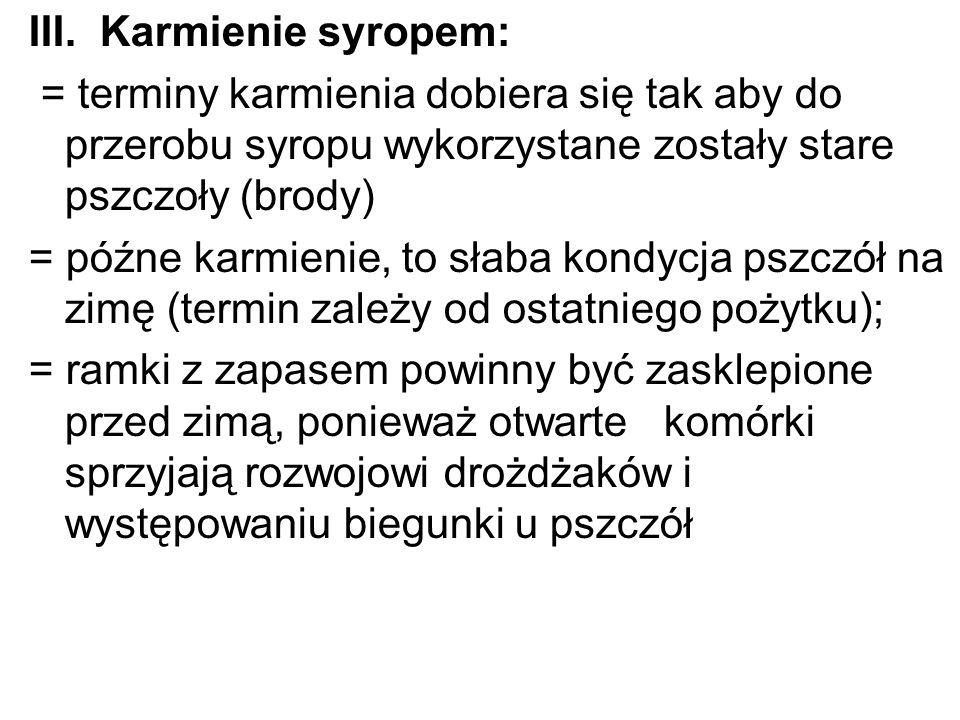 III. Karmienie syropem: