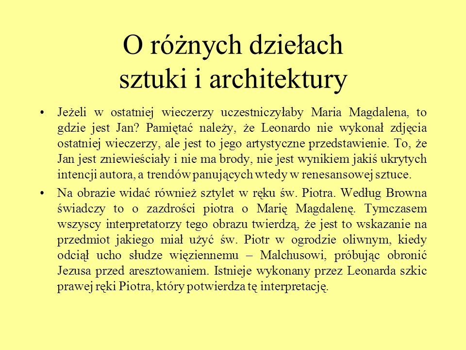 O różnych dziełach sztuki i architektury