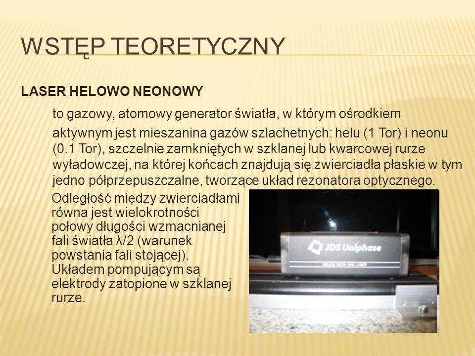 WSTĘP TEORETYCZNY LASER HELOWO NEONOWY. to gazowy, atomowy generator światła, w którym ośrodkiem.