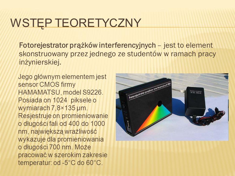 WSTĘP TEORETYCZNY Fotorejestrator prążków interferencyjnych – jest to element skonstruowany przez jednego ze studentów w ramach pracy inżynierskiej.