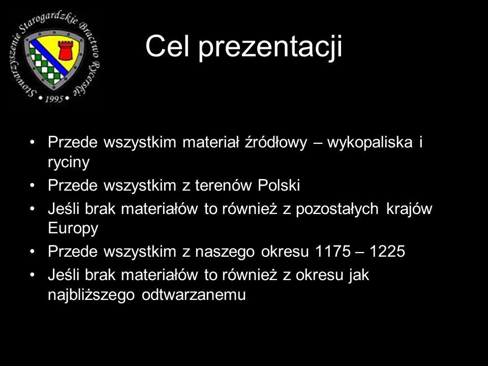 Cel prezentacji Przede wszystkim materiał źródłowy – wykopaliska i ryciny. Przede wszystkim z terenów Polski.