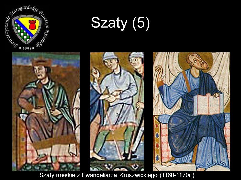 Szaty (5) Szaty męskie z Ewangeliarza Kruszwickiego (1160-1170r.)