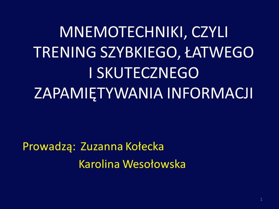Prowadzą: Zuzanna Kołecka Karolina Wesołowska