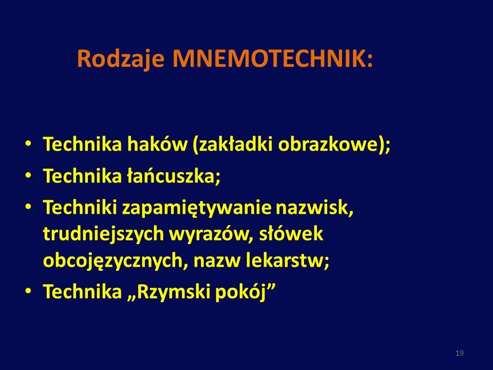 Rodzaje MNEMOTECHNIK: