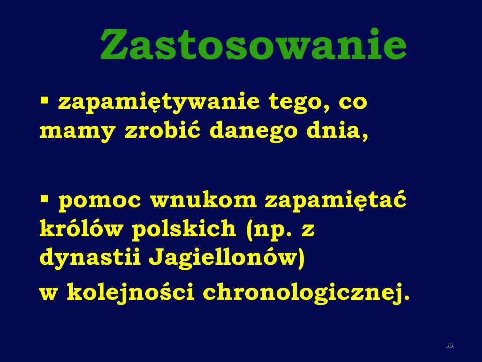 Zastosowaniezapamiętywanie tego, co mamy zrobić danego dnia, pomoc wnukom zapamiętać królów polskich (np. z dynastii Jagiellonów)