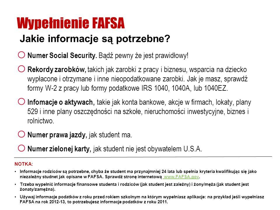 Wypełnienie FAFSA Jakie informacje są potrzebne