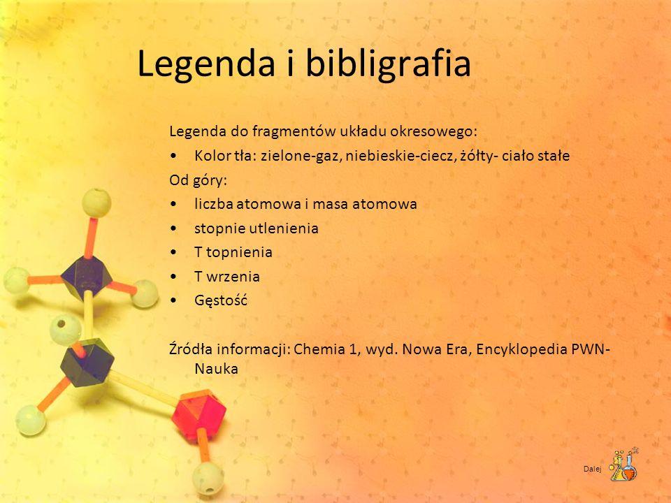 Legenda i bibligrafia Legenda do fragmentów układu okresowego: