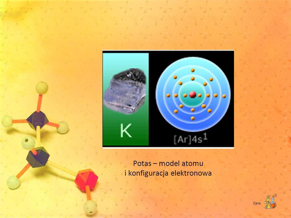 Potas – model atomu i konfiguracja elektronowa