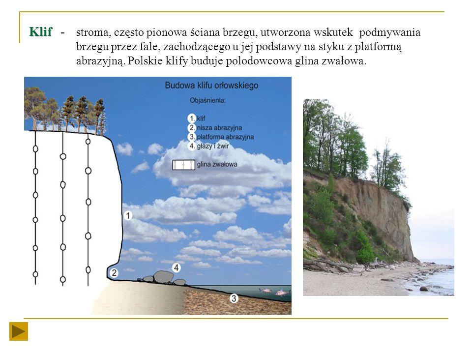 Klif -. stroma, często pionowa ściana brzegu, utworzona wskutek