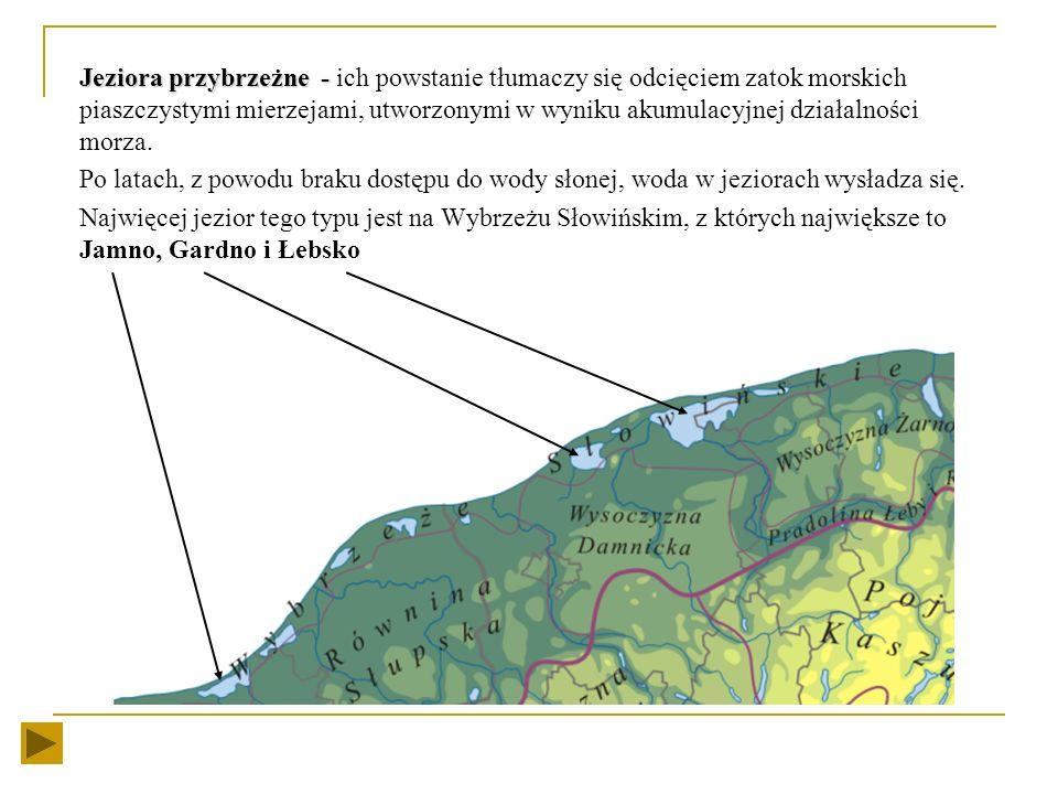 Jeziora przybrzeżne - ich powstanie tłumaczy się odcięciem zatok morskich piaszczystymi mierzejami, utworzonymi w wyniku akumulacyjnej działalności morza.