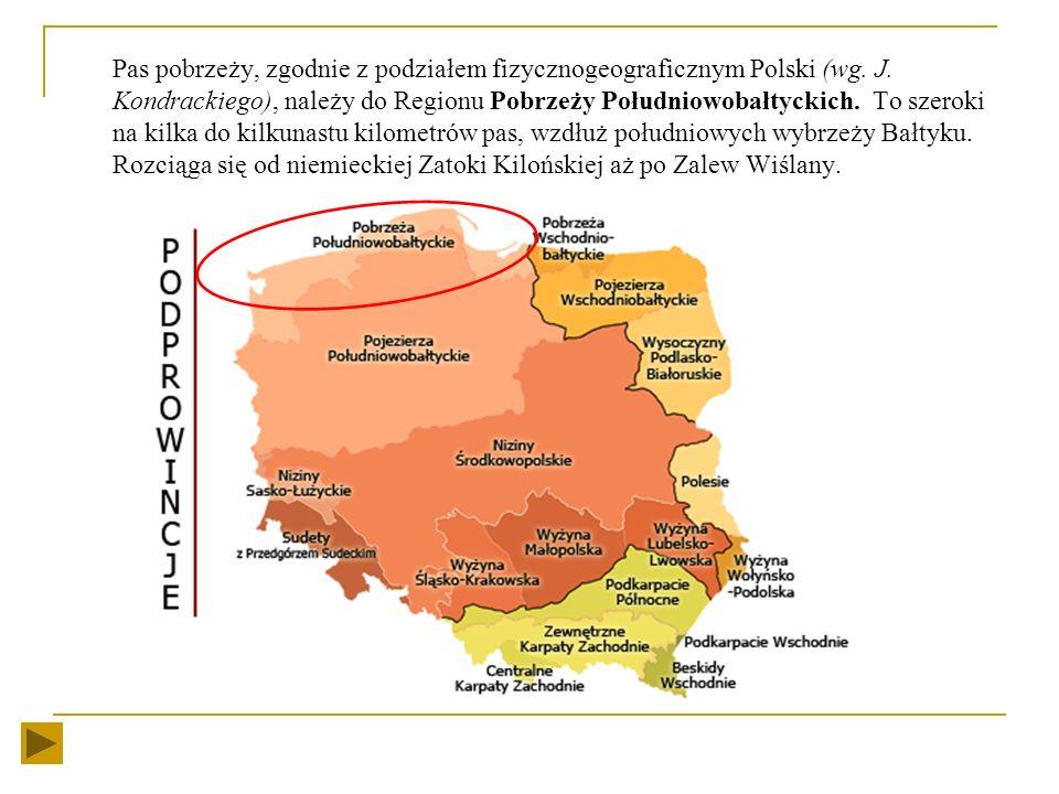 Pas pobrzeży, zgodnie z podziałem fizycznogeograficznym Polski (wg. J