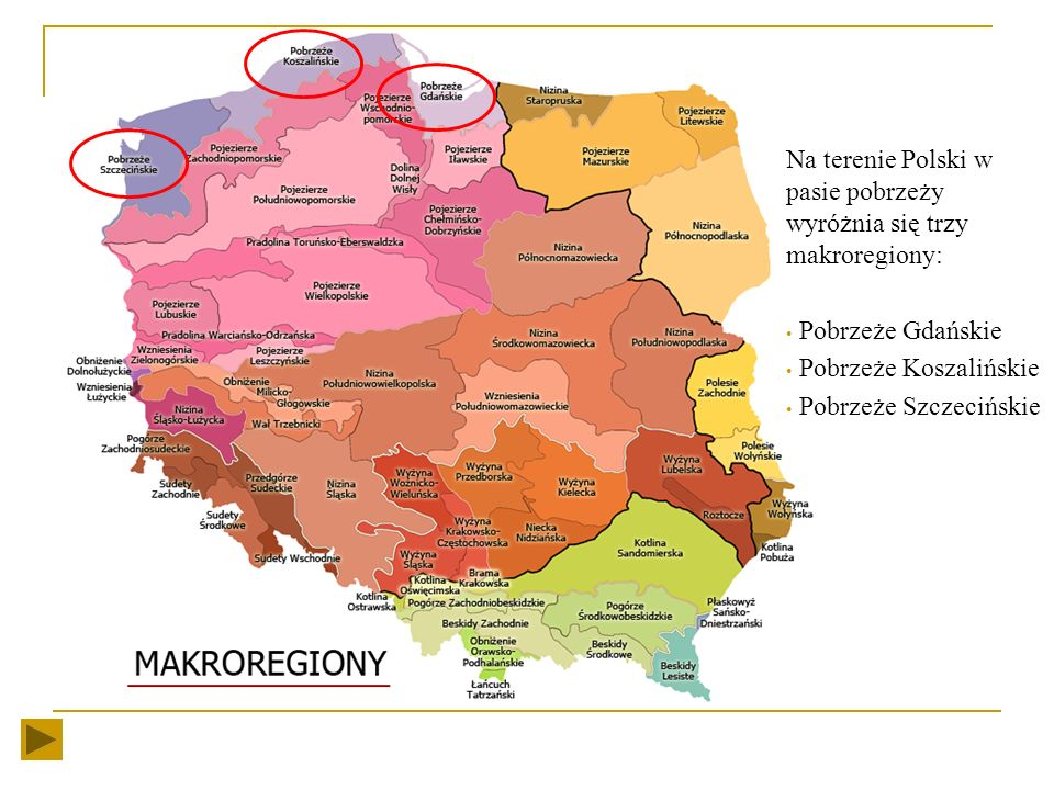 Na terenie Polski w pasie pobrzeży wyróżnia się trzy makroregiony: